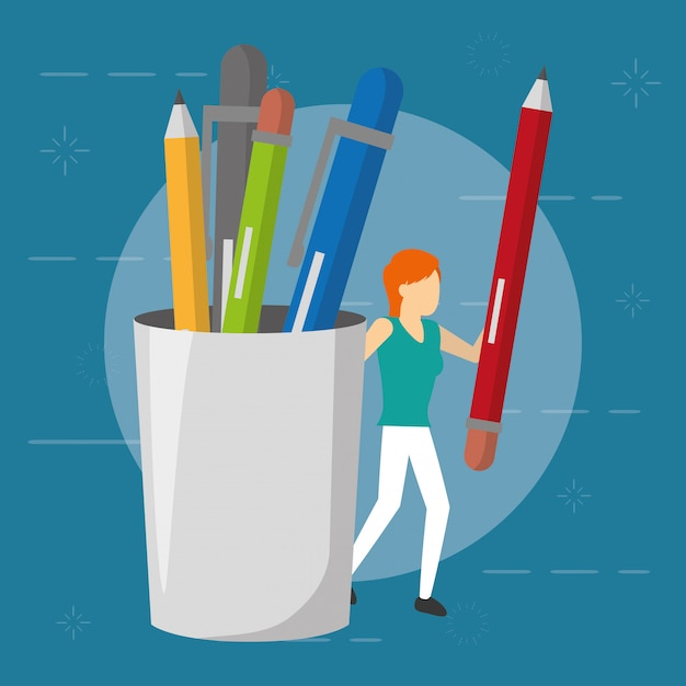 Business woman with pencil and supplies, flat style Free Vector