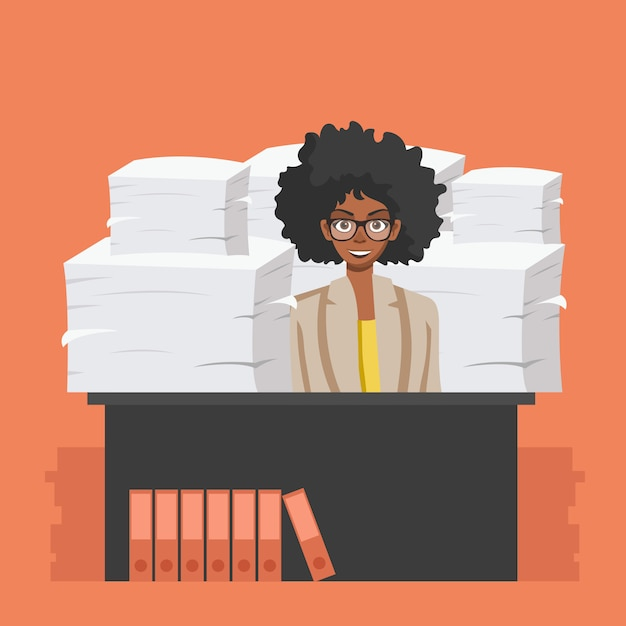 Business woman with pile of office papers Premium Vector