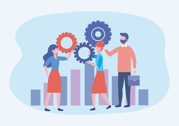 Business women and business man with gears and statistics bar Free Vector