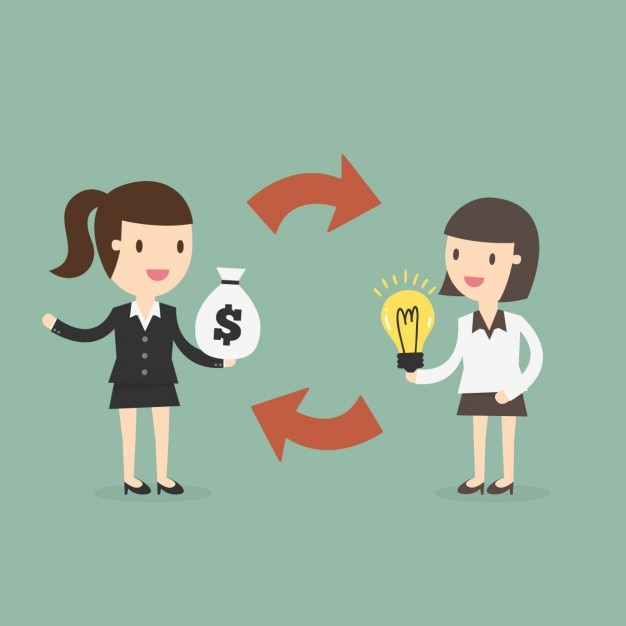Business women changing ideas for money Free Vector