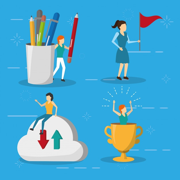 Business women flag trophy cloud storage, flat style Free Vector