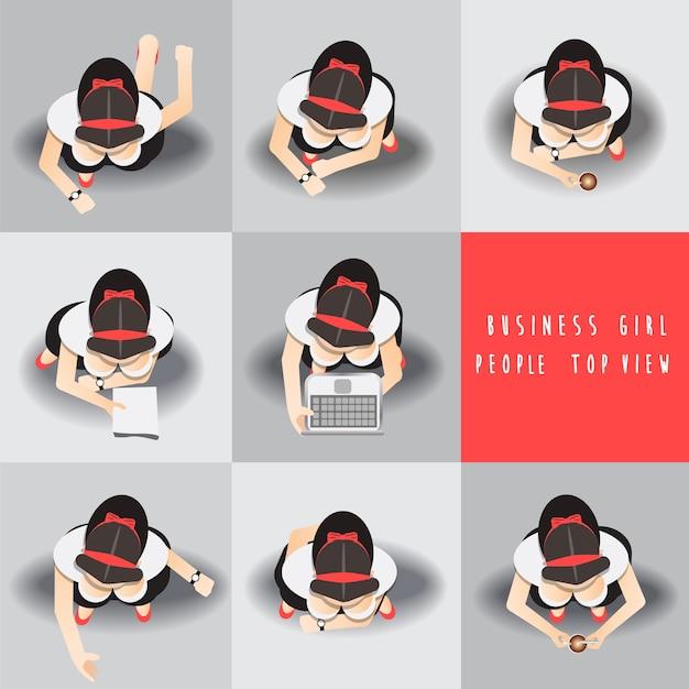 Business women standing top view set ,vector illustration Premium Vector