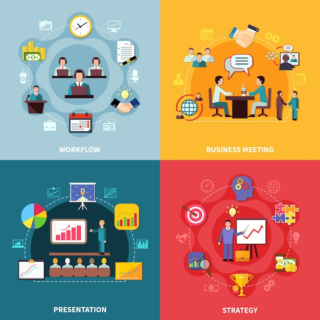 Business workflow design concept Free Vector