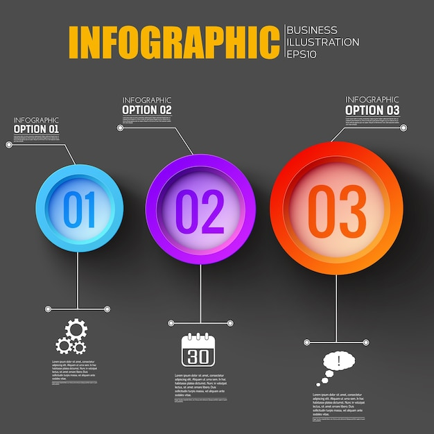 Инфографика рабочего процесса с креативными сетевыми значками и тремя пронумерованными красочными функциональными кнопками Бесплатные векторы