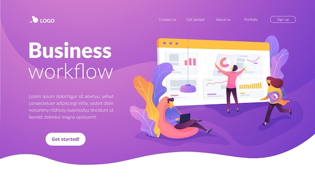 ui ux design Business workflow landing page template Free Vector