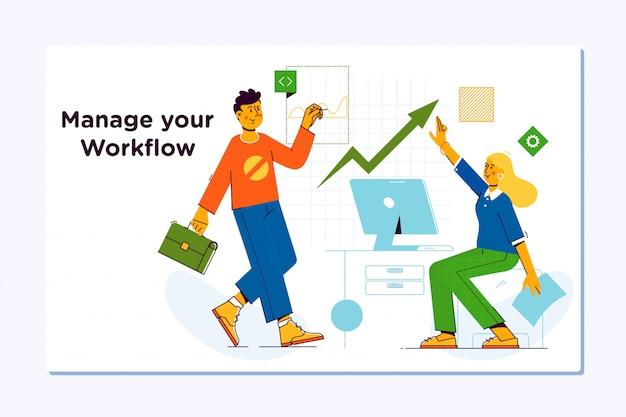 Business workflow management. project management Premium Vector