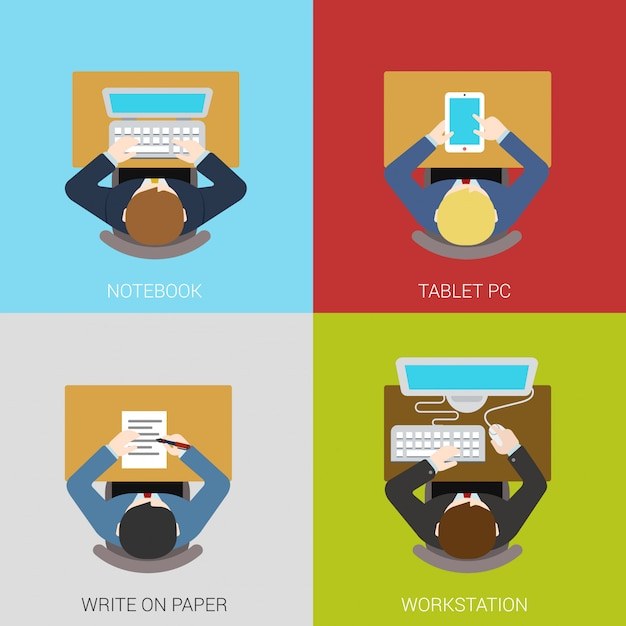 Business workplace flat concepts illustrations set. businessman manager workspace. Premium Vector
