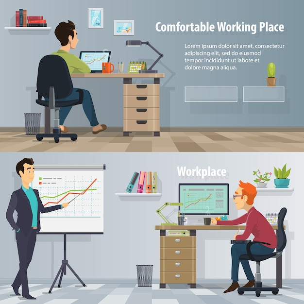 Горизонтальные баннеры на рабочем месте для бизнеса с работающими занятыми людьми в современном удобном офисе Бесплатные векторы
