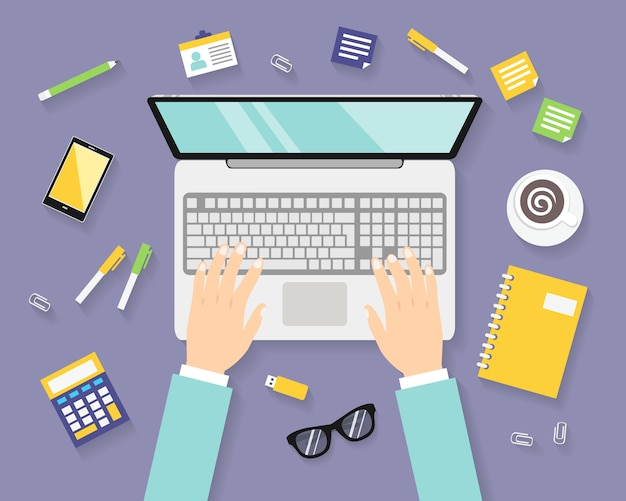 Business workplace with notebook Free Vector