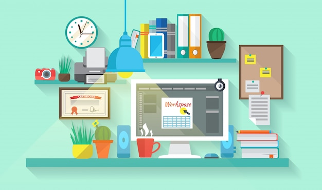 Business workspace in room interior Free Vector