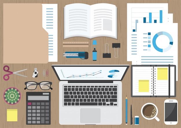 Business workspace top view Premium Vector