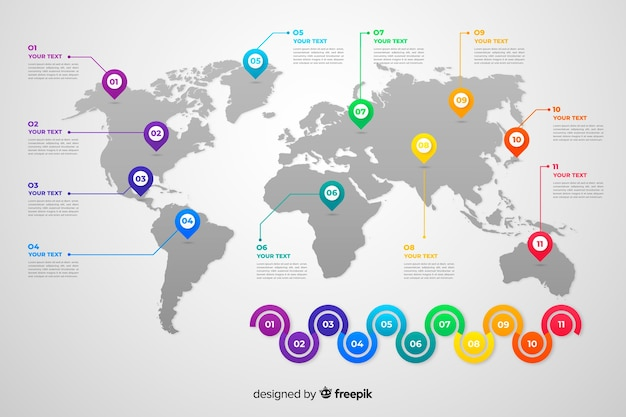 Business world map infographic Free Vector