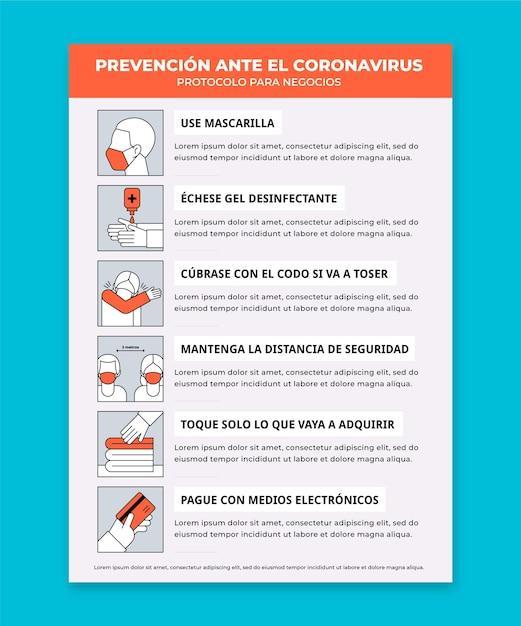 コロナウイルスポスターのための企業プロトコル Premiumベクター