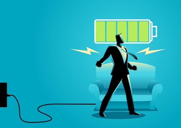 Businessman after getting restful sleep Premium Vector