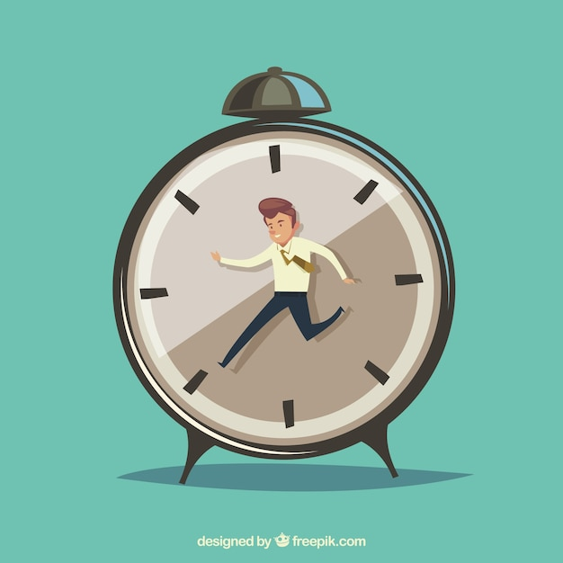Businessman against time clock Free Vector