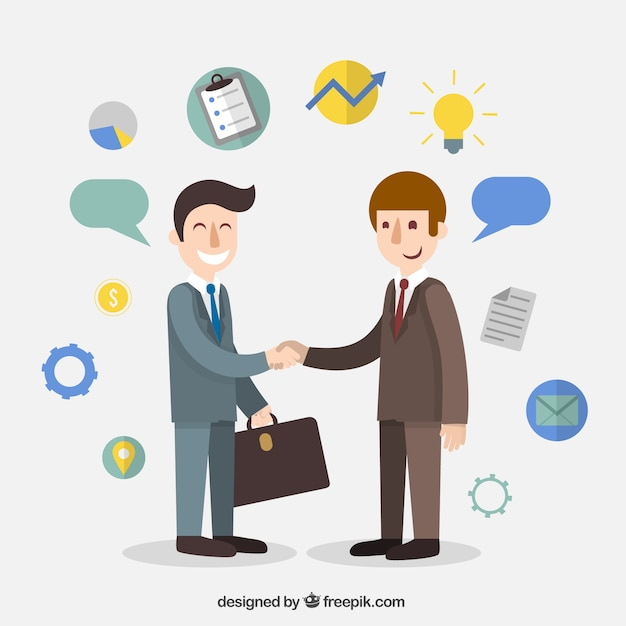 Businessman agreement cartoon Free Vector