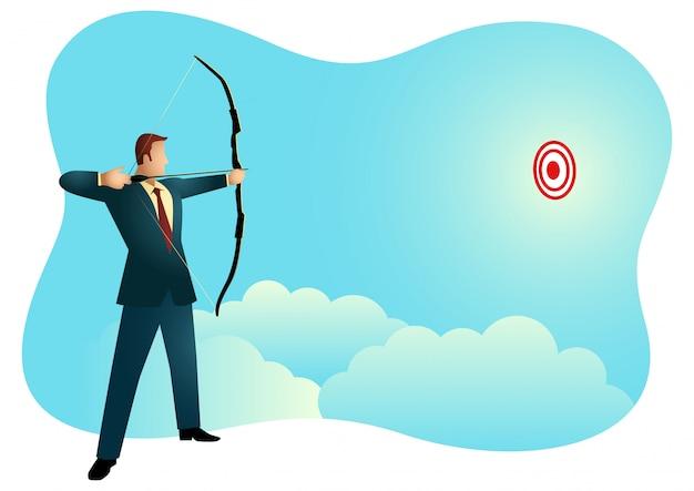 Businessman aiming target Premium Vector