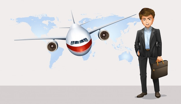Businessman and airplane flying in background Free Vector