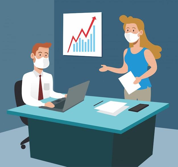 Бизнесмен и предприниматель в офисе с ноутбуком стратегии Premium векторы