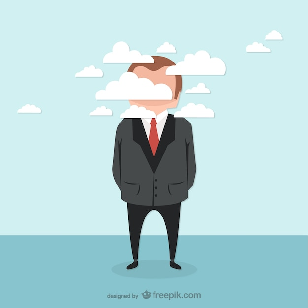 Businessman and clouds vector