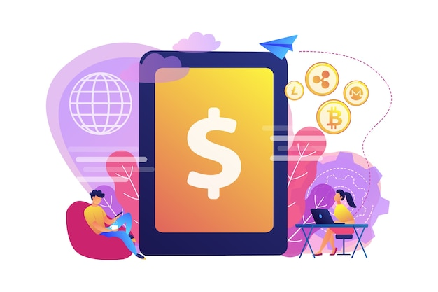 Бизнесмен и женщина переводят деньги с гаджетами. цифровая валюта, рынок криптовалюты, перевод электронных денег и концепция оборота цифровых денег. Бесплатные векторы