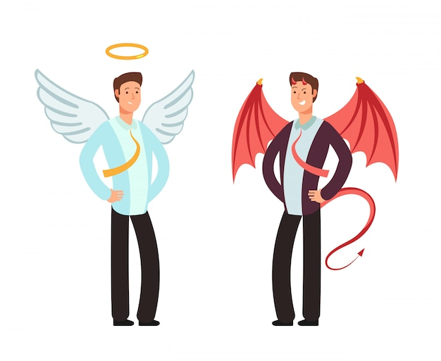Premium Vector | Businessman in angel and demon suit. vector characters for  good and bad way choice concept