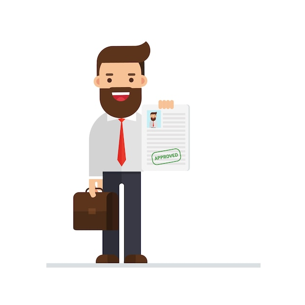 Businessman approved application Premium Vector