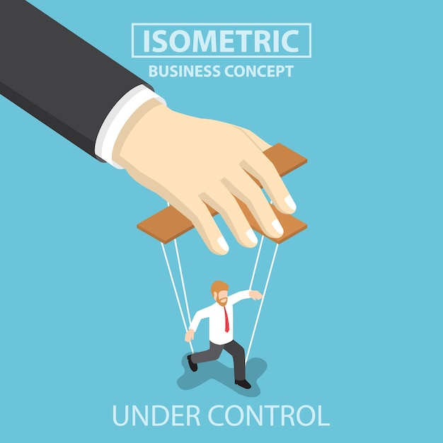 Businessman are under control like a puppet Premium Vector