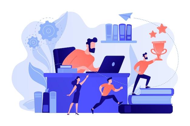 노트북 및 지도자에서 사업가 트로피와 그의 팀과 함께 책에서 실행됩니다. 비즈니스 리더십, 관리 기술, 리더십 교육 계획 개념. 분홍빛이 도는 산호 bluevector 고립 된 그림 무료 벡터