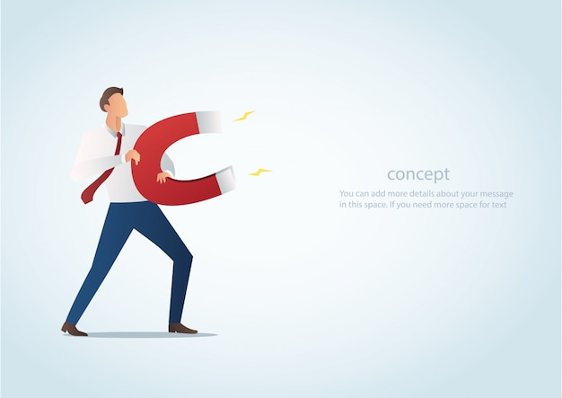 Businessman attracting with magnet vector Premium Vector