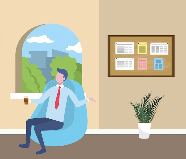 Businessman avatar cartoon Free Vector