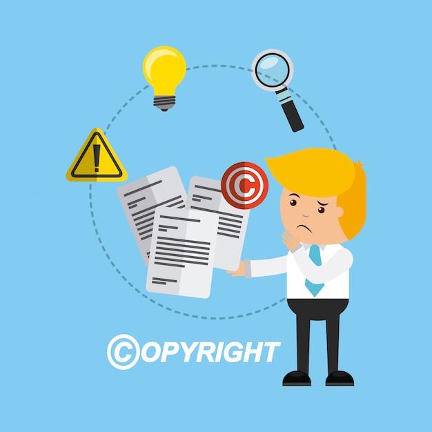 Businessman avatar with copyright concept Premium Vector