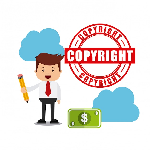 Businessman avatar with copyright concept Premium Vector