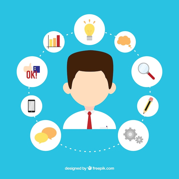 Businessman avatar with icons