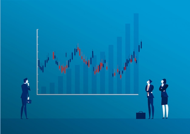 Businessman back view standing looking at candle stick graph stock market illustration Premium Vector