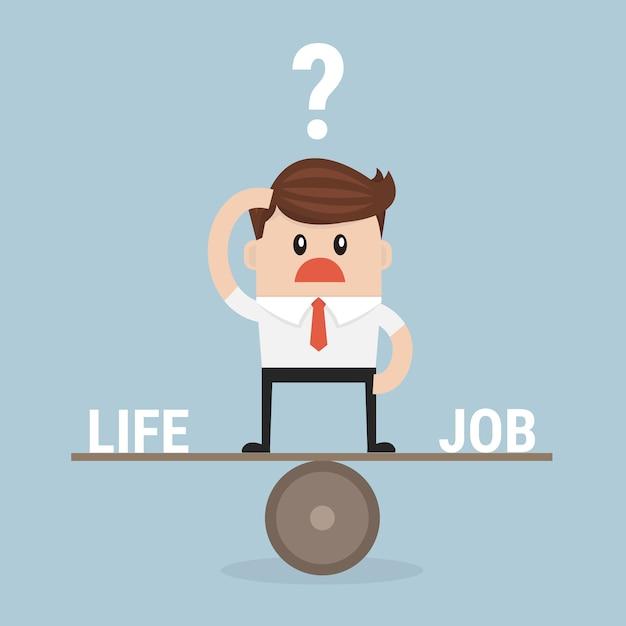 Businessman balance work and life vector Premium Vector