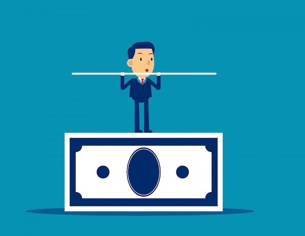 Businessman balancing on the banknote Premium Vector