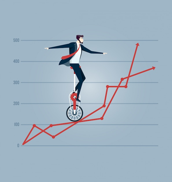 Businessman balancing on the charts Premium Vector