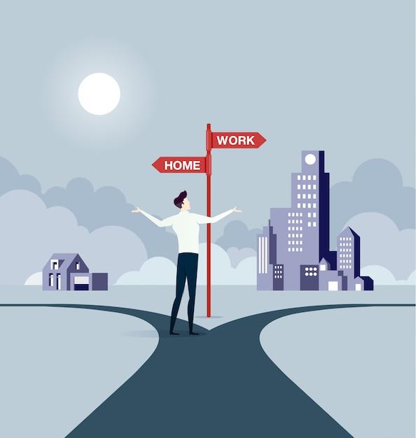 Businessman balancing between work and life Premium Vector