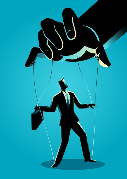 Businessman being controlled by puppet master Premium Vector
