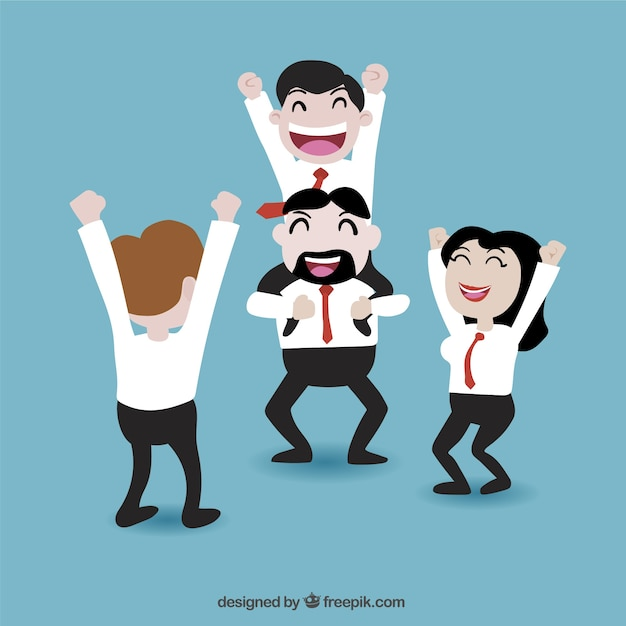 Businessman being throwing up by his teamwork Free Vector