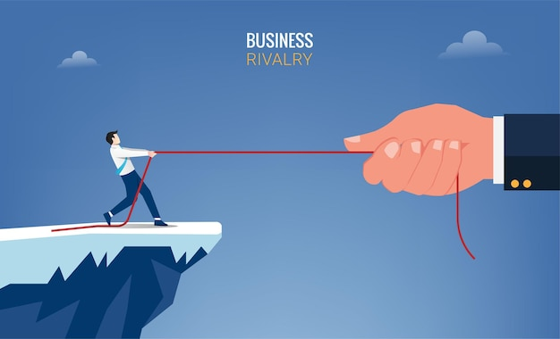 Businessman and big hand pull the rope concept. business rivalry symbol  illustration Premium Vector