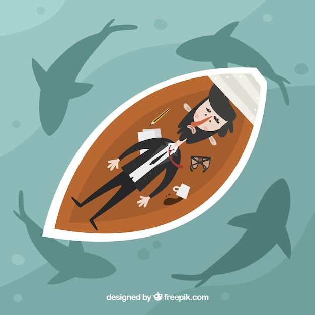 Businessman in a boat surrounded by sharks Free Vector