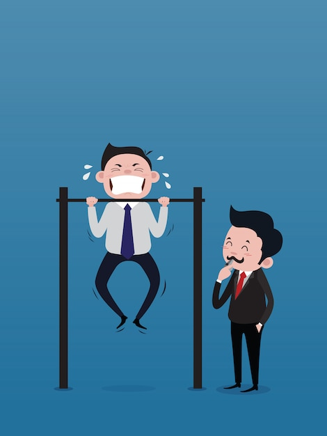 The businessman, the boss, is blowing the whistle to signal to train the male staff doing chin-up bar. concept vector Premium Vector