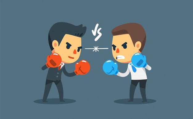 Businessman in boxing gloves fighting against another businessman. business competition Premium Vector