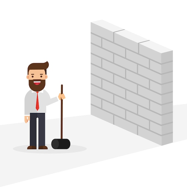 Businessman breaking wall with hammer Premium Vector