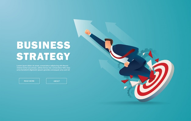 Businessman breakthrough the target archery to successful Premium Vector