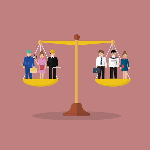 Businessman and businesswoman balancing on scales Premium Vector