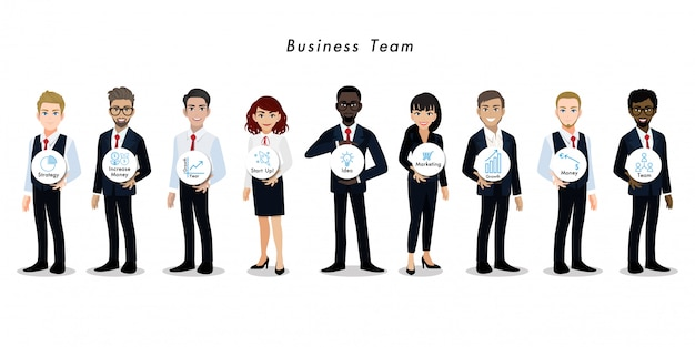 Businessman and businesswoman cartoon character teamwork Premium Vector