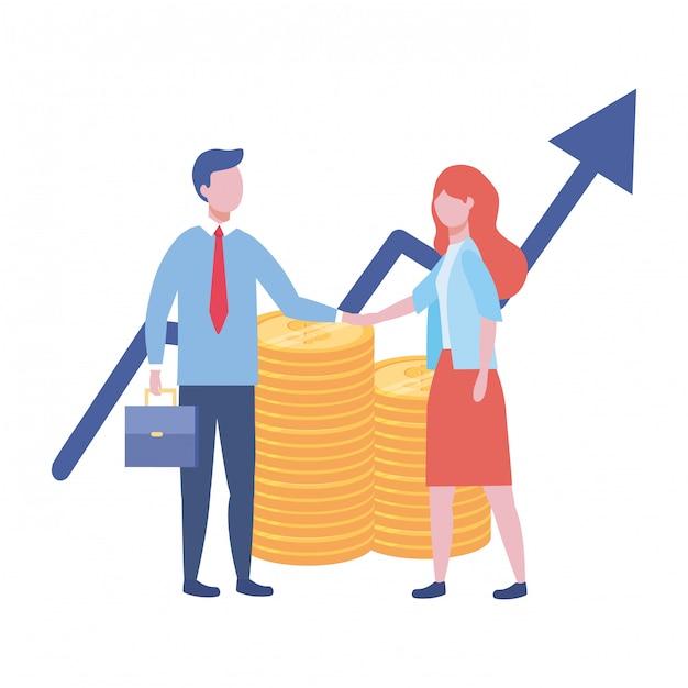 Businessman and businesswoman design vector illustration Premium Vector
